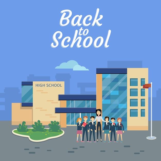 Back to school. teacher with pupils on school yard Premium Vector