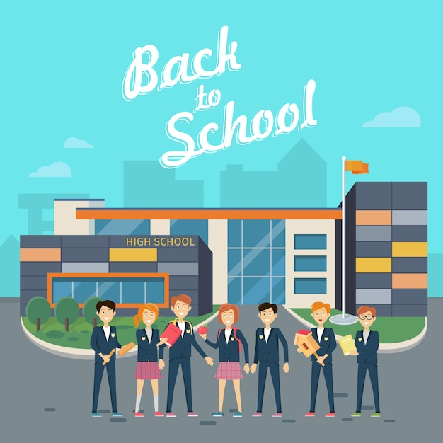 Back to school. teacher with pupils on school yard Premium Vector