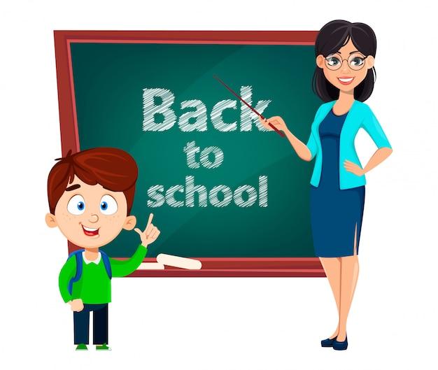 Back to school. teacher woman cartoon character Premium Vector