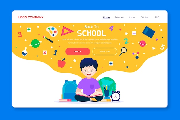 Back to school template landing page Free Vector