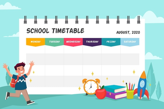 Back to school template for timetable Free Vector