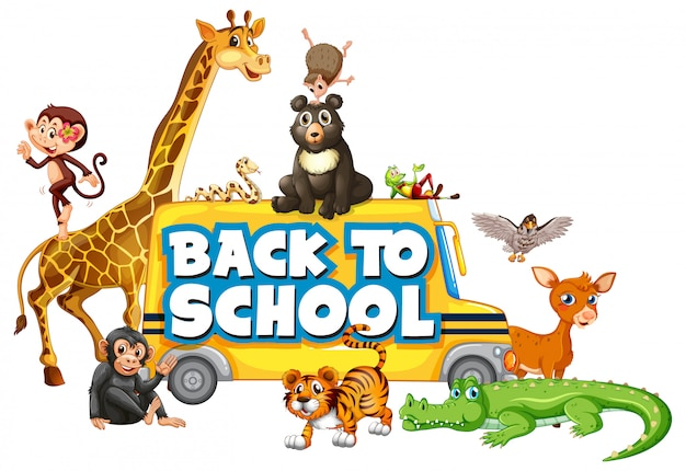 Back to school template with animals Free Vector