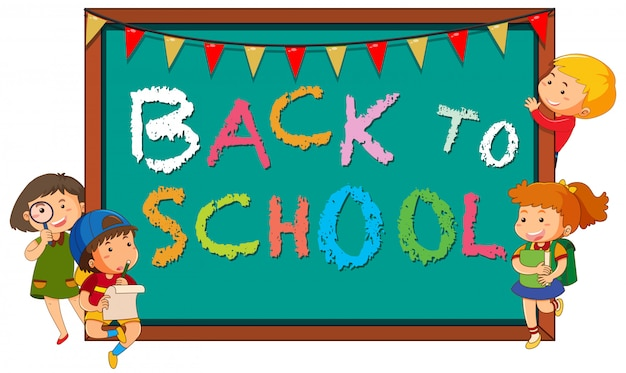 Back to school template with children Free Vector