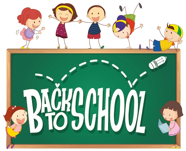 Back to school template with doodle children Vector | Free Download