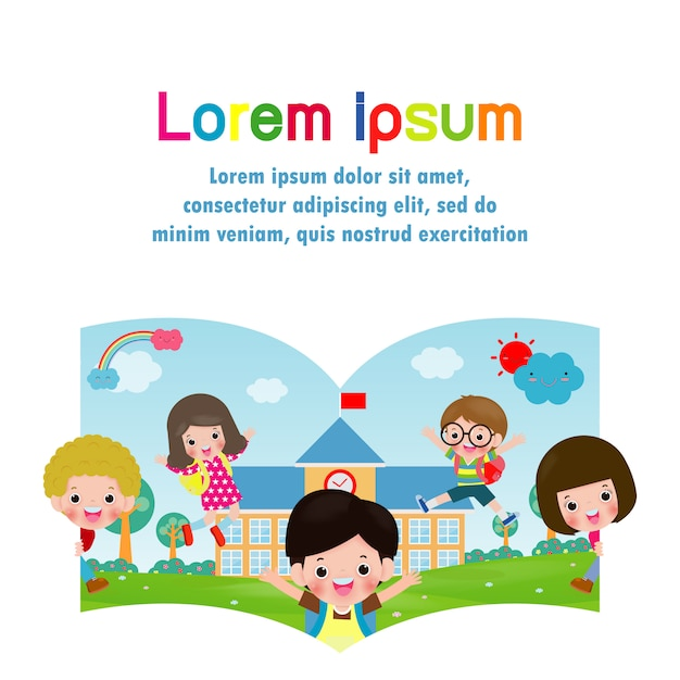 Back to school template with kids, education concept Premium Vector
