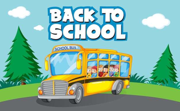 Back to school template with school bus Free Vector