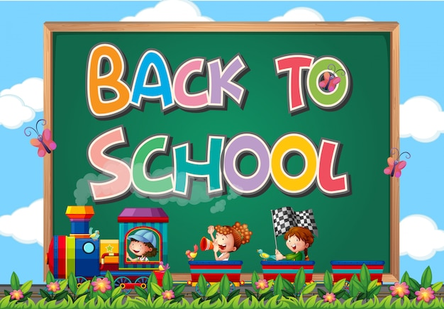 Back to school template with sign Free Vector