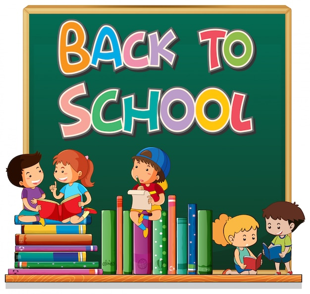 Back to school template with student Free Vector
