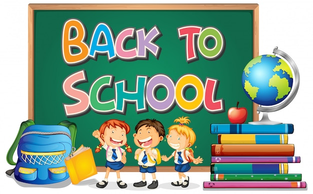 Back to school template with student | Free Vector