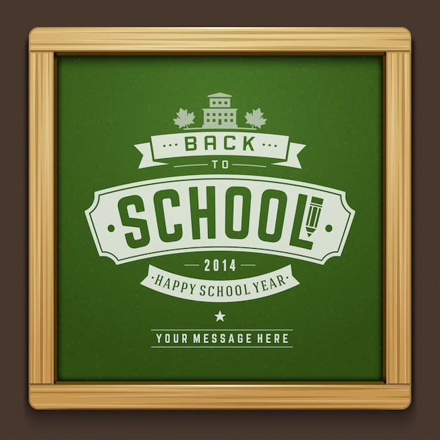 Back to school text drawing by chalk on blackboard with typographic elements Premium Vector