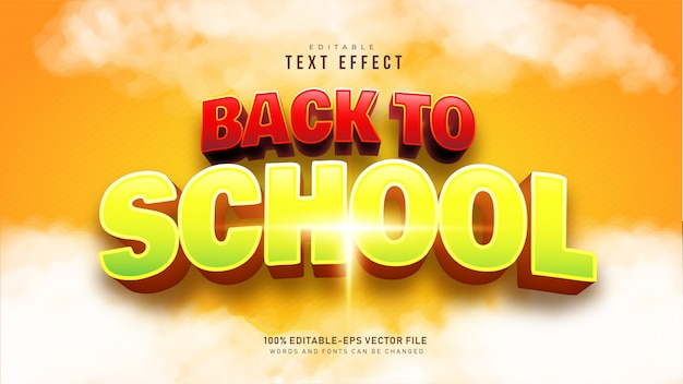 Back to school text effect Free Vector