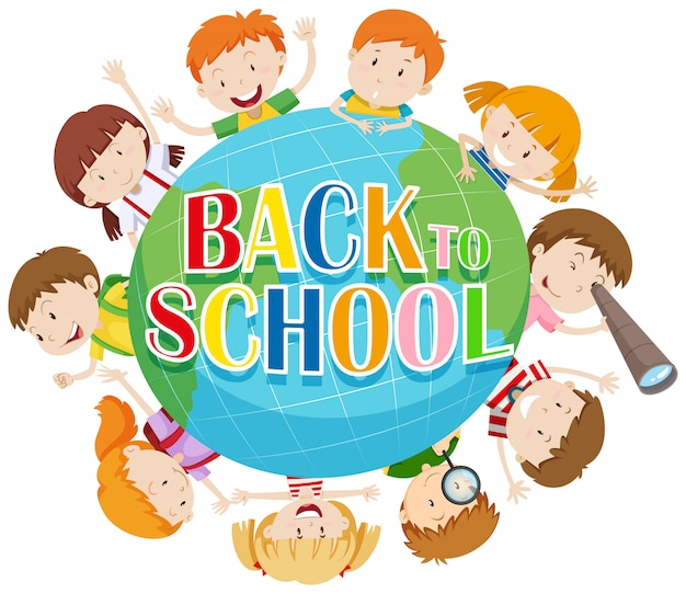 Back to school theme with kids around the globe Free Vector