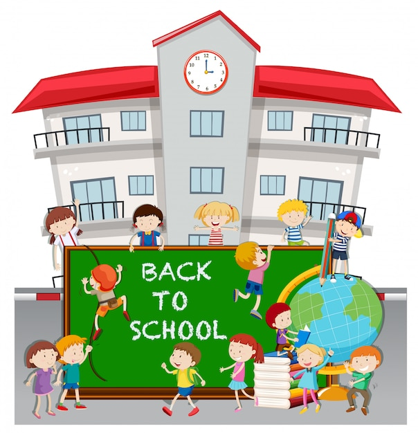 Back to school theme with students at school Free Vector