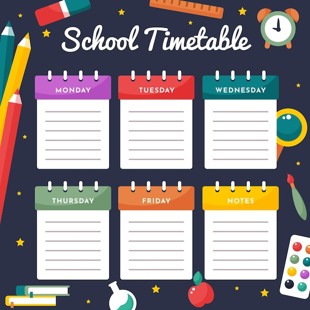 Back to school timetable flat design ti Free Vector