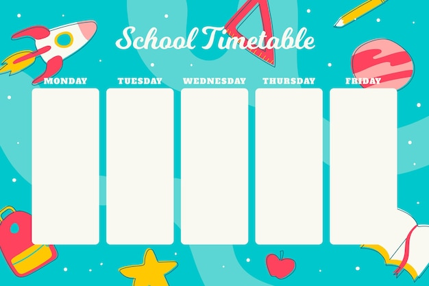 Back to school timetable in flat design Free Vector