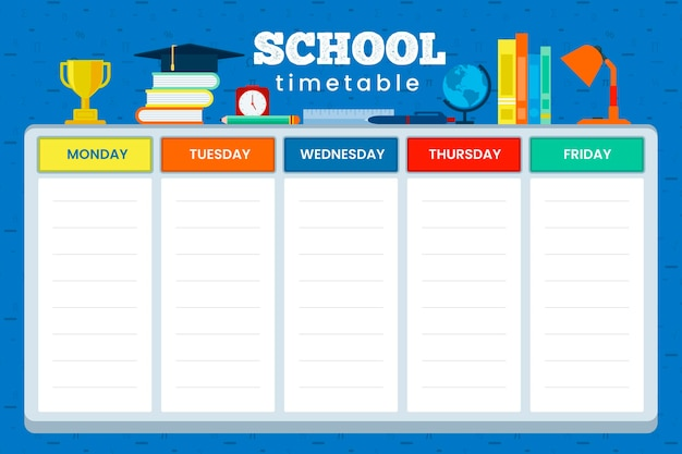 Back to school timetable flat design Free Vector