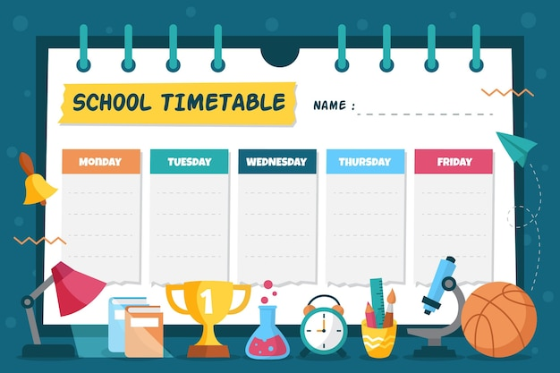 Back to school timetable hand drawn design Free Vector