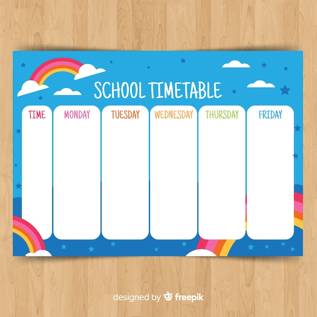 Back to school timetable template Free Vector
