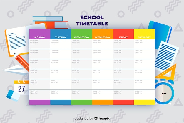 Back to school timetable template Premium Vector