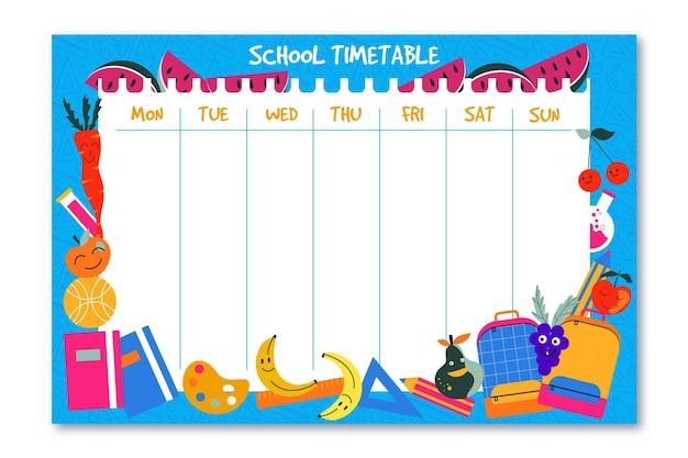 Torna al modello di orario scolastico Vettore gratuito