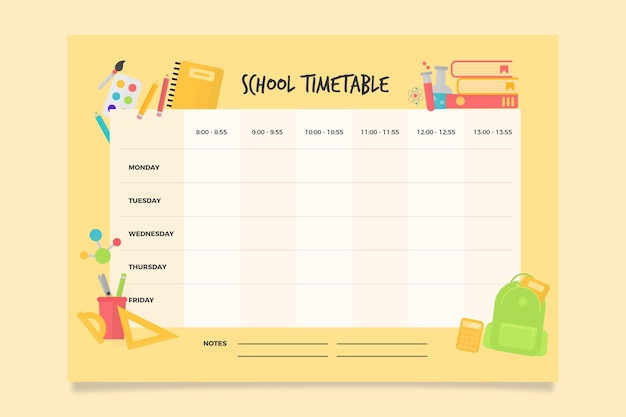 Back to school timetable Free Vector