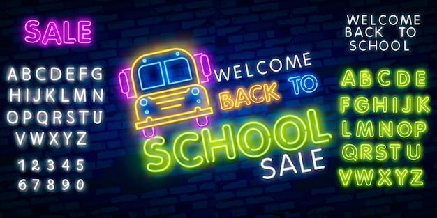 Back to school. typography font alphabet neon style effect Premium Vector