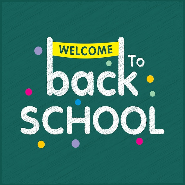 Back to school typography with green background and creative design Free Vector
