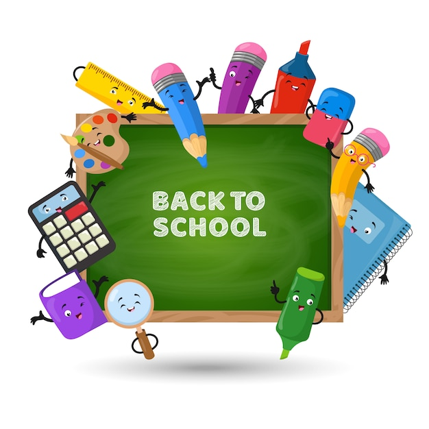 Back to school vector background. education concept with school supplies Premium Vector