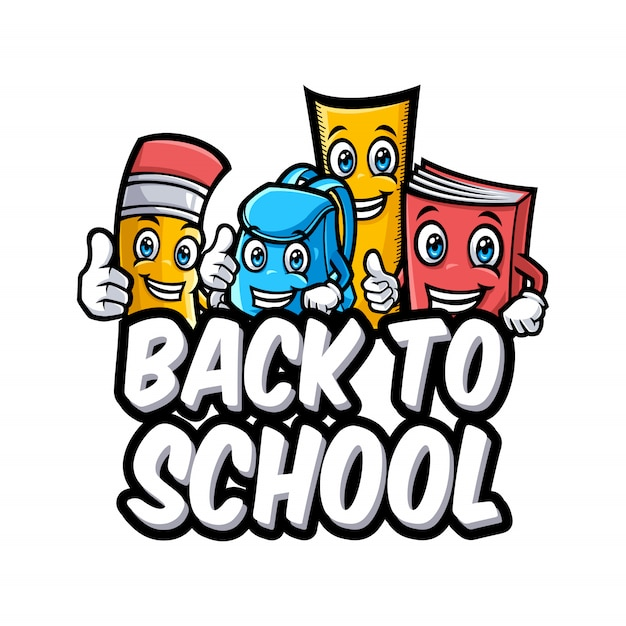 Back To School Vector Characters With Funny Education Cartoon Mascots Premium Vector