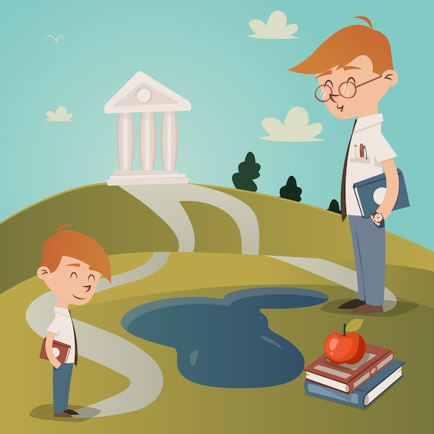 Torna a scuola illustrazione vettoriale con un ragazzino carino con un libro di testo sotto il braccio in piedi su un sentiero che conduce a un edificio universitario su una collina guardato dal suo insegnante mentre cammina a scuola Vettore gratuito