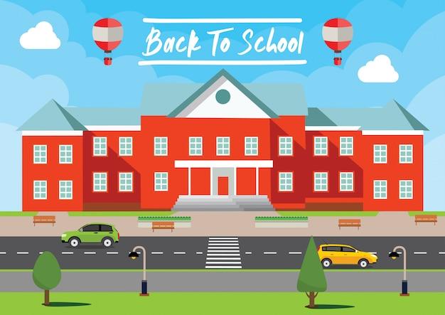 Back to school vector. lettering poster, banner, illustration background Premium Vector