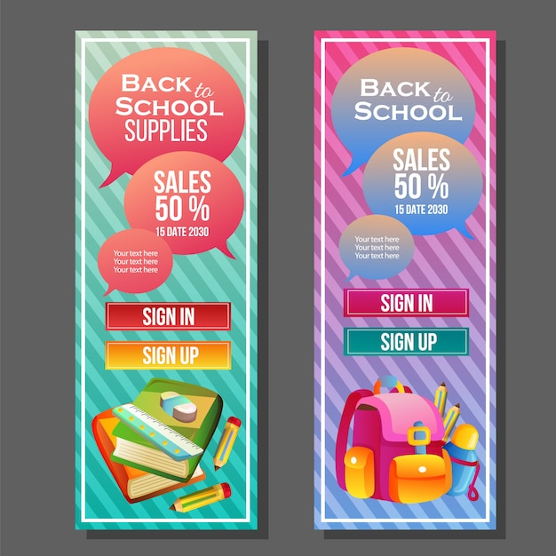 Back to school vertical banner template colorful supplies Premium Vector