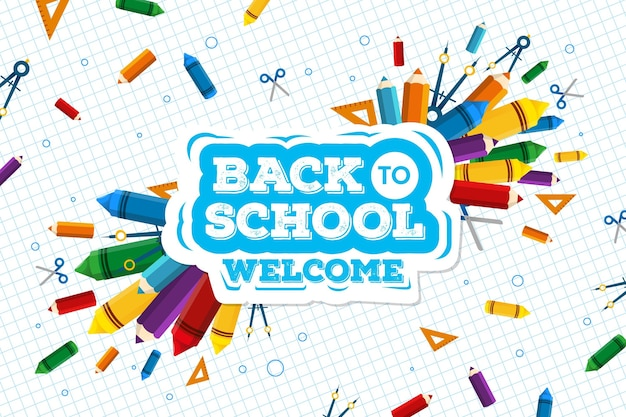 Back to school wallpaper concept Free Vector
