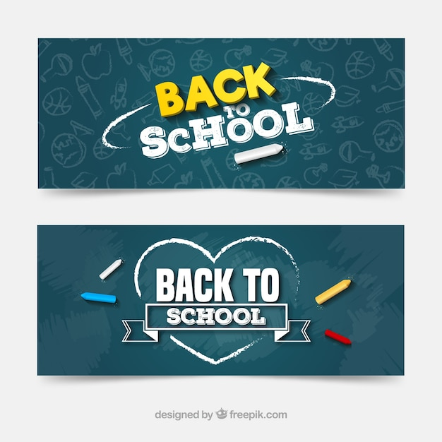 Back to school web banner collection with blackboard Free Vector