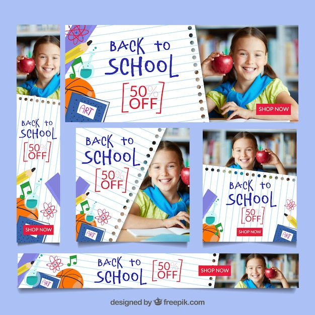 Back to school web banner collection with images Free Vector