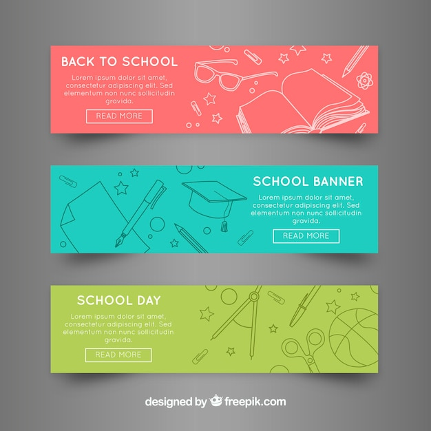 Back to school web banners in three colors Free Vector
