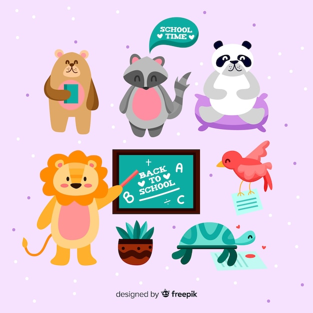 Back to school wild animal collection Free Vector