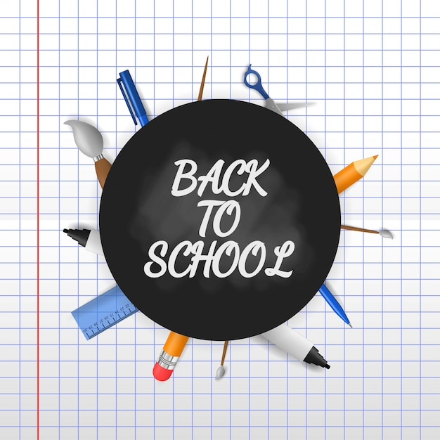 Back to school with 3d illustration on paper background Premium Vector