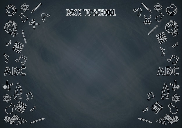 Back to school with chalkboard background and doodle vector Premium Vector