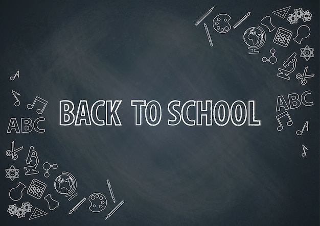 Back to school with chalkboard background vector Premium Vector