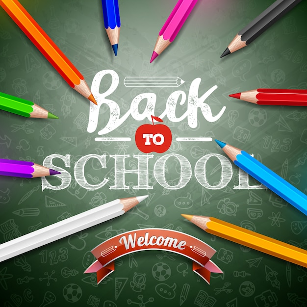 Back to school with colorful pencil and typography lettering on green chalkboard background Premium Vector