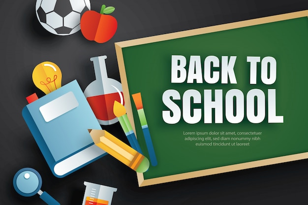 Back to school with education items and green chalkboard. Premium Vector