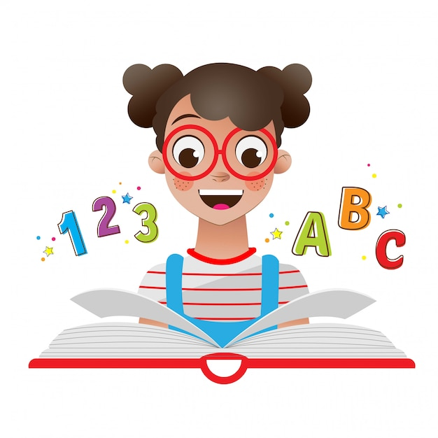 Back to the school with girl with book and numbers Premium Vector