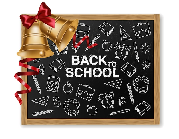 Back to school with golden bell and chalk board Premium Vector