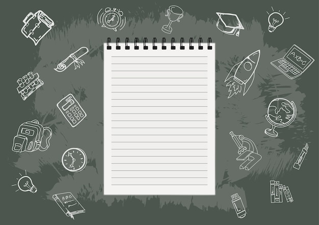 Back to school with hand drawn objects Premium Vector