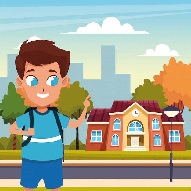 Back to school with happiness Free Vector