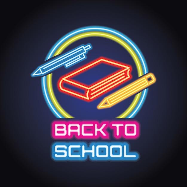 Back to school with neon light effect. vector illustration Premium Vector