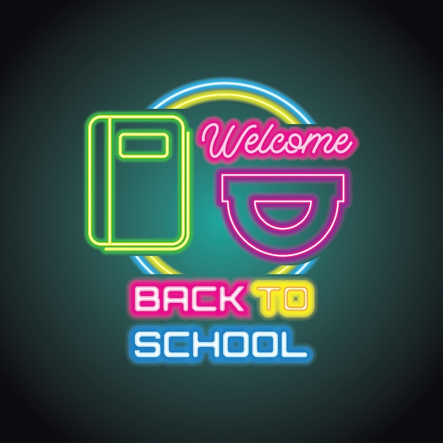 Back to school with neon light effect Premium Vector