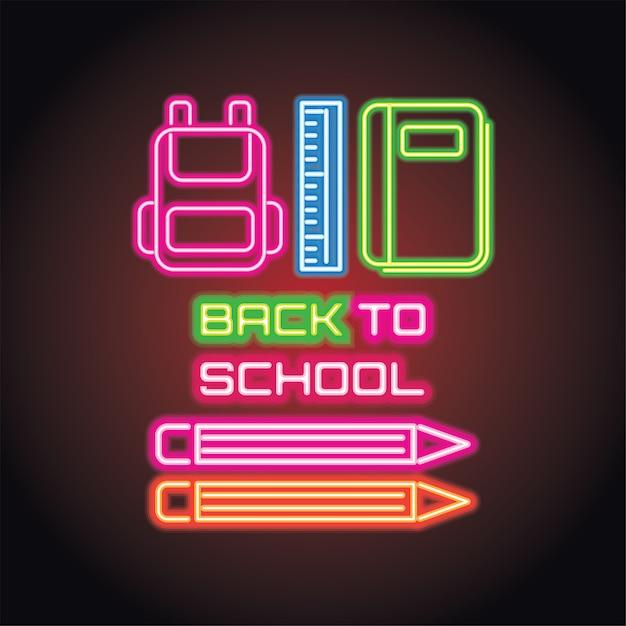 Back to school with neon light effect Premium Vector