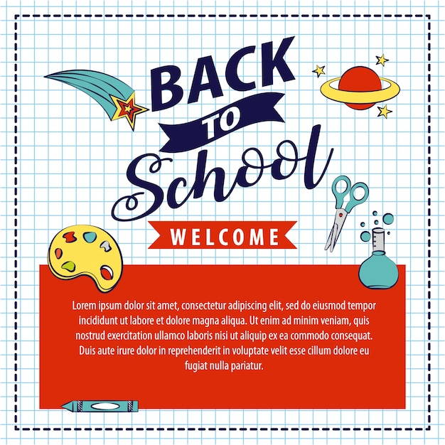 Back to school with school elements illustration Free Vector